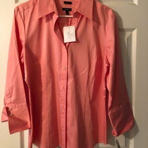 Peach button up shirt